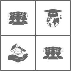 Vector Illustration Set Office Education Icons. Elements of Graduate, Internet training, Hand with diploma and books and male graduate in graduation cap