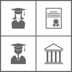 Vector Illustration Set Office Education Icons. Elements of Graduation student girl, Certificate, Avatar with Graduation Cap and icon of court building