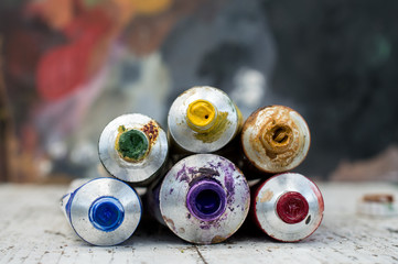 Colorful Watercolor tubes, Tempera, Oil Paints