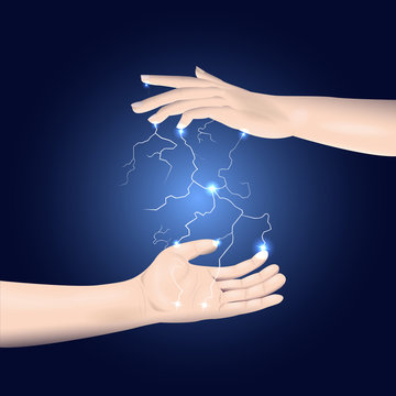 Static electricity between two hands