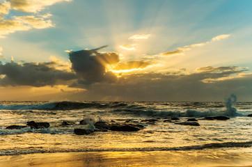 Sunrise Seascape with Sun Rays