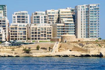 Tigne Point with Fort Tigne  in Sliema, Malta
