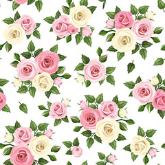 Vector seamless pattern with pink and white roses on a white background.