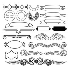 Decoration elements isolated on white background. Decorative ornament borders and page dividers. Lines, ribbons and laurels set.