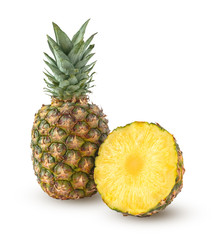 Whole and half of pineapple isolated on a white background