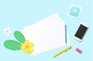 Workplace vector mock-up set with office supplies. Flat lay top view on realistic mobile phone, flamingo photo, paper, flowers, pencil, pen and eraser. Blog header. Home office, freelance concept.