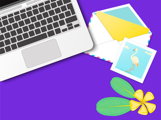 Workplace desktop vector mock up set with office supplies on purple background. Flat lay top view on realistic laptop, flamingo photo, envelope, flowers. Blog header. Home office, freelance concept.