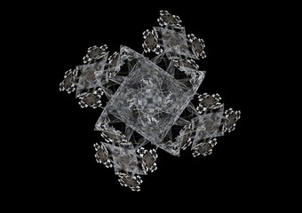 Abstract fractal composition on a black background.