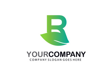 R Green Leaf Letter Logo Design