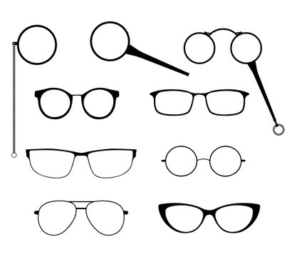 Glasses silhouette vector set. Frames to modern sunglasses with different styles as well as vintage eyeglasses - lorgnette, monocle and a magnifying glass