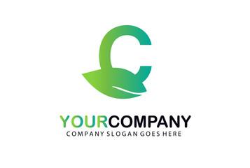 C Green Leaf Letter Logo Design