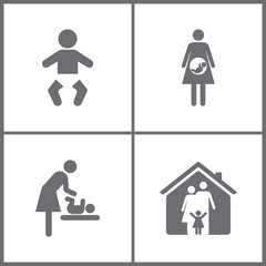 Vector Illustration Set Office Relationship Icons. Elements of Family, Baby, Mother and child icon.