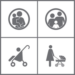 Vector Illustration Set Office Relationship Icons. Elements of Pram, Nipple, Baby and Family icon