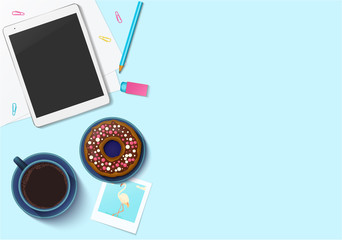 Workplace collection mock-up with office stuff for your design. Top view on realistic computer tablet, coffee cup, doughnut, photo, paper, clips, pencil, eraser. Vector illustration.
