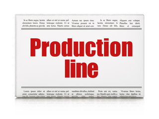 Industry concept: newspaper headline Production Line on White background, 3D rendering