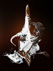 hot coffee and milk splash 3d illustration