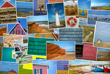 Collage of pictures from magdalen island in Canada