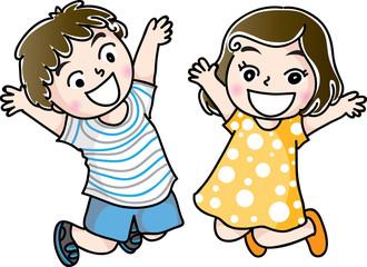 boy and girl jump