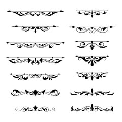 Floral decorative design element collection vintage style. Dividers set. Traced by hand from own sketch