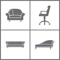 Vector Illustration Set Office Furniture Icons. Elements of Armchair, Refrigerator, Shelf and Television set icon