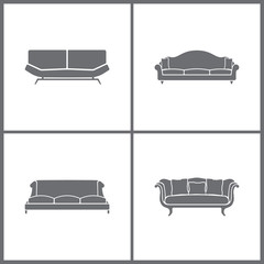 Vector Illustration Set Office Furniture Icons. Elements of Television set, Extractor and Television icon
