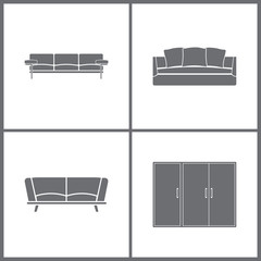Vector Illustration Set Office Furniture Icons. Elements of Microwave, Stove, Washing machine and Armchair icon