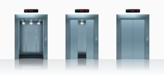 Open and closed realistic elevator doors. Vector illustration.