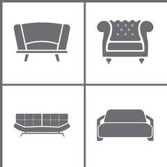 Vector Illustration Set Office Furniture Icons. Elements of Sofa and Shelf icon
