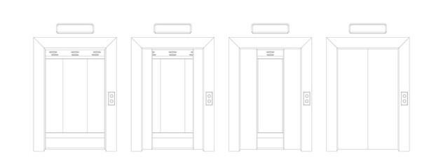 Outline open and closed elevator doors. Front view door vector illustration.