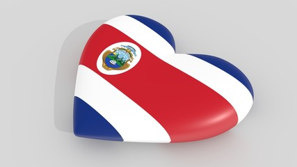 Heart in the colors of Costa Rica flag, on a white background, 3d rendering side.