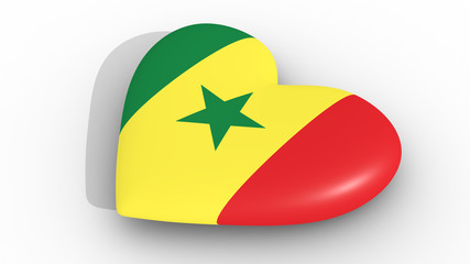 Heart in the colors of Senegal flag, on a white background, 3d rendering side.