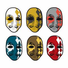 Carnival masks set vector illustration