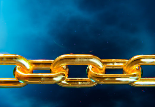 Gold chain rings, blue background 3D