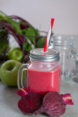 Healthy dietary detox food, fresh smoothie frim young red beets