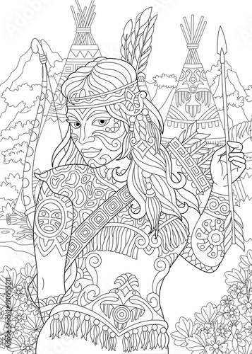 Coloring Page. Adult Coloring Book. Native American Indian Woman ...