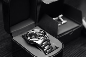 new elegant stainless steel silver men's classic watches and cufflinks