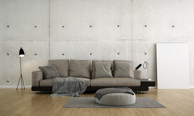 The modern luxury interior design of lounge and living room and concrete wall texture background