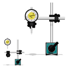 Dial gauge with magnetic base on transparent background