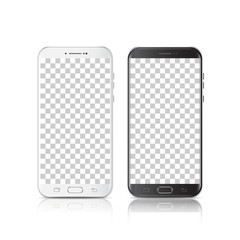 Modern realistic black and white smartphone. Smartphone with isolated on transparent background. 3d Vector illustration of cell phone.