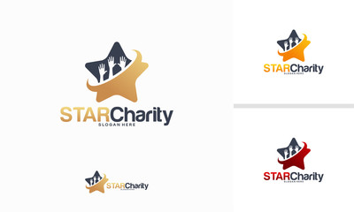 Star Charity logo designs concept, Shine Care logo template vector