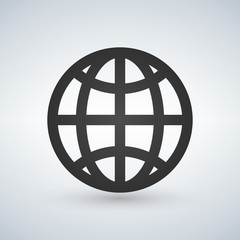 The globe icon. Globe symbol. Flat Vector illustration.