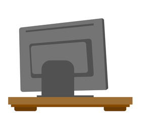 Rear view of computer monitor or television vector cartoon illustration isolated on white background.
