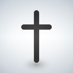 Christian cross icon minimalistic. Black christian cross sign isolated on white background. Vector illustration.