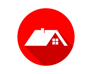 red circle house housing home residence residential residency real estate image vector icon