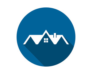 blue circle house housing home residence residential residency real estate image vector icon