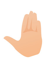 Left palm hand vector cartoon illustration isolated on white background.