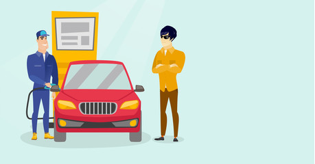 Caucasian white worker in workwear filling up fuel into the car at the gas station while car owner standing nearby. Gas station worker refueling a car. Vector cartoon illustration. Horizontal layout.