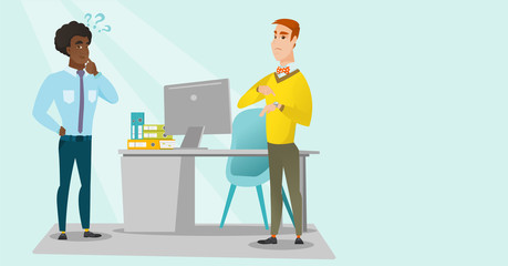Angry caucasian white employer pointing at wrist watch and checking time of coming of african latecomer employee. Concept of late to work and deadline. Vector cartoon illustration. Horizontal layout.