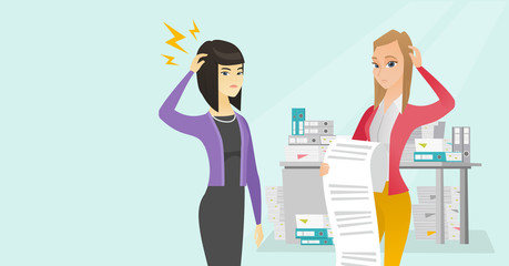 Young multicultural and asian business women standing with bill in the office. Depressed women scratching heads during the review of the business bill. Vector cartoon illustration. Horizontal layout