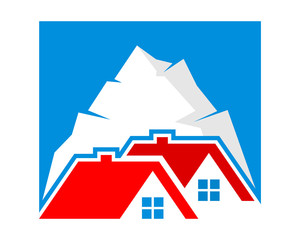 mountain peak housing home residence residential residency real estate image vector icon 2